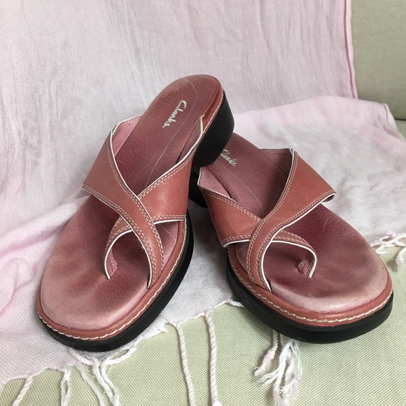 3b3e9a851a1 Clarks Shoes - Clark s Pink Slip-on Sandals Open Toe